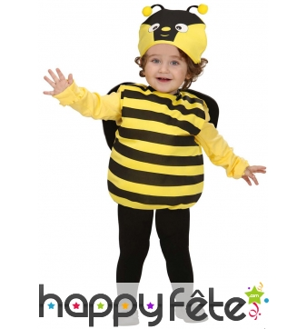 Costume petite abeille jaune et noire pour bébé