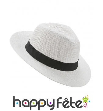 Chapeau Panama blanc avec ruban noir