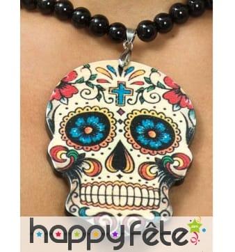 Collier pendentif crâne Dia de los muertos