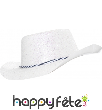 Chapeau plastique de cowboy paillette irise
