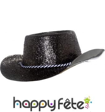 Chapeau plastique de cowboy paillette noir