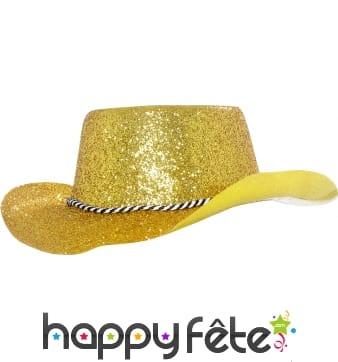 Chapeau plastique de cowboy paillette or
