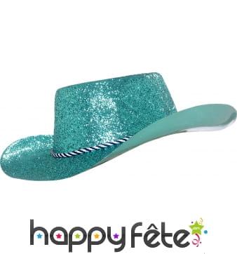 Chapeau plastique de cowboy paillette turquoise