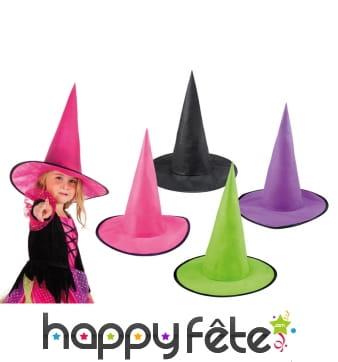 Chapeau pointu de sorcière pour enfant, 4 couleurs