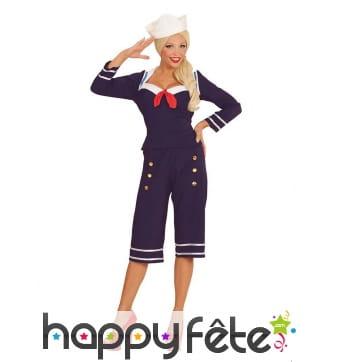 Costume pantacourt de femme marin bleu