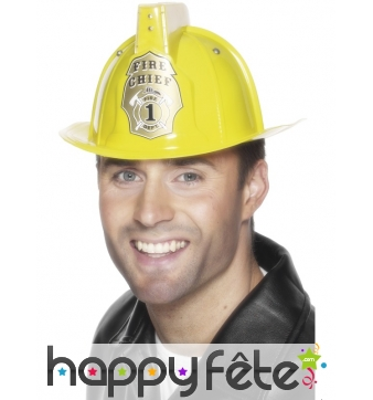 Casque pompier jaune adulte