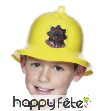 Casque pompier jaune enfant