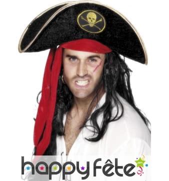 Chapeau pirate noir tête mort