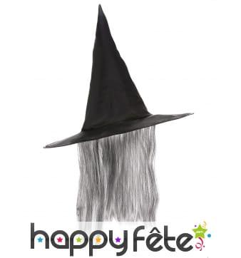 Chapeau pointu noir avec cheveux gris
