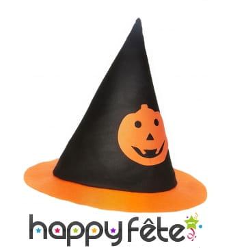 Chapeau pointu noir avec citrouille pour enfant
