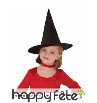 Chapeau pointu noir de sorcière pour enfant