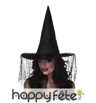 Chapeau pointu noir de sorcière voile arraignée