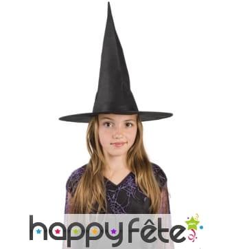 Chapeau pointu noir pour enfant, en nylon