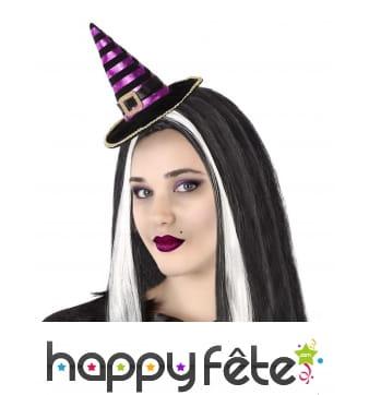 Chapeau pointu noir violet sur serre tête, adulte