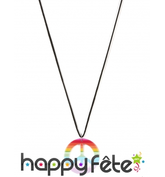 Collier pendentif peace and love multicolore