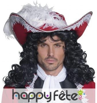 Chapeau pirate rouge avec plume et galon