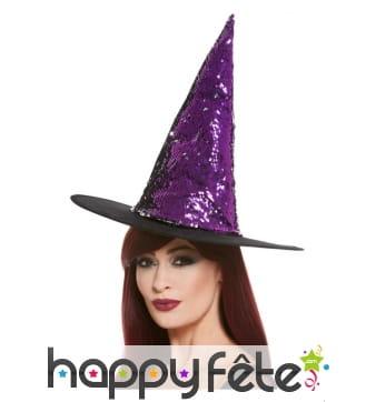 Chapeau pointu réversible violet noir à paillettes