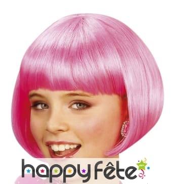 Courte perruque rose style cabaret pour enfant