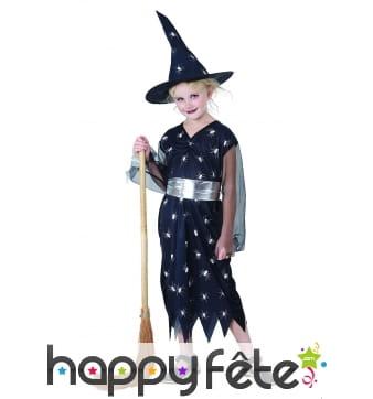 Costume petite sorcière noir araignées imprimées