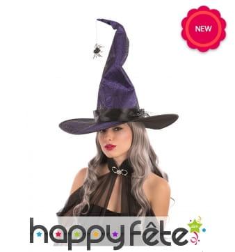 Chapeau pointu violet de sorcière, malléable