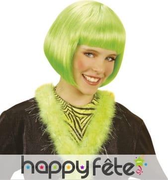 Courte perruque verte style cabaret pour enfant