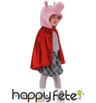 Cape rouge avec tête de petit cochon, pour enfant