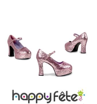 Chaussures rose à paillettes, talon haut