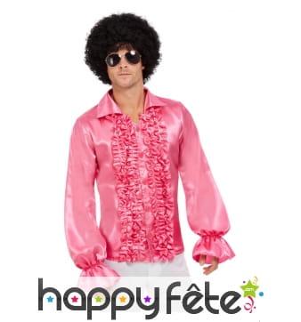 Chemise rose à volants pour homme