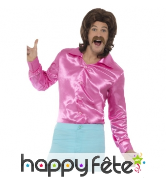 Chemise rose années 60 pour homme
