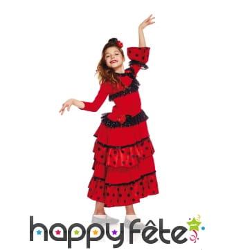 Costume rouge à pois blanc de petite espagnole