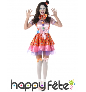 Costume robe bariolée de clown pour femme