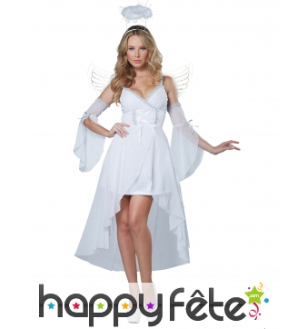 Costume robe blanche unie d'ange pour femme
