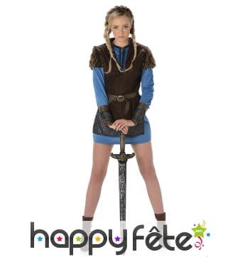Costume robe courte bleue de femme viking guerrier