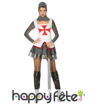 Costume robe courte de femme chevalier croisé