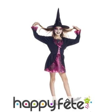 Costume robe courte de petite sorcière araignée