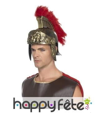 Casque romain de spartiate avec crête rouge