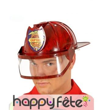 Casque rouge de pompier pour adulte, avec visière