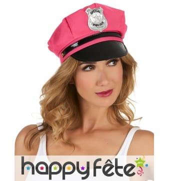 Casquette rose de police