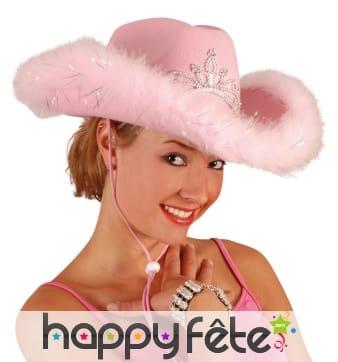 Chapeau rose de cowgirl bord en froufrou