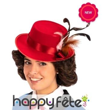 Chapeau rouge de Mary Poppins pour femme