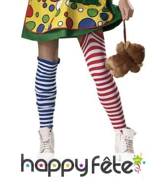 Chaussettes rayées dépareillée de femme clown