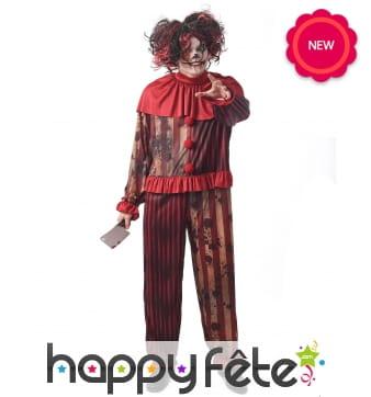 Combinaison rouge de clown tueur pour homme