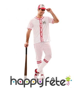 Costume rayé de joueur de baseball blanc rouge