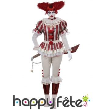 Costume rétro de clown rayé rouge blanc pour femme