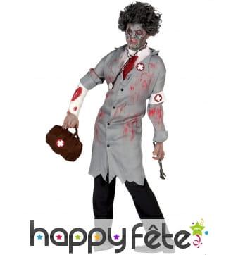 Costume rétro de médecin zombie pour homme