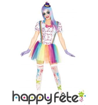 Costume robe de clown tacheté arc en ciel