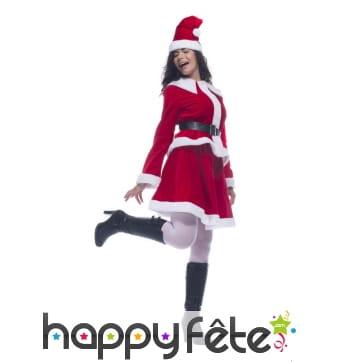 Costume robe de mère Noël en velours rouge