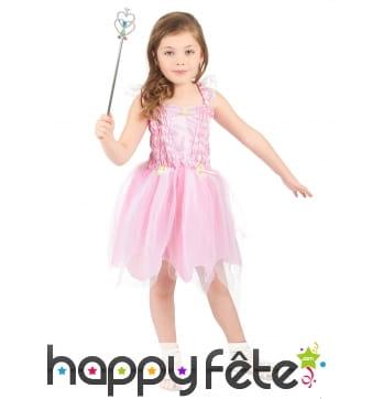 Costume robe de petite fée rose avec voilage