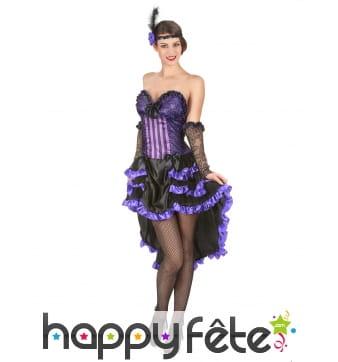 Costume robe de saloon violette et noire