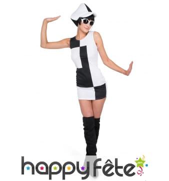 Costume robe disco blanche et noire
